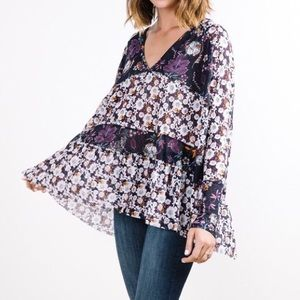 Free People Isabelle Floral V Neck Tunic Top